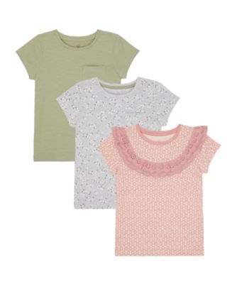 Mothercare Sienna Skies Frill, Allover Print And Khaki Short Sleeve T-Shirt - 3 Pack