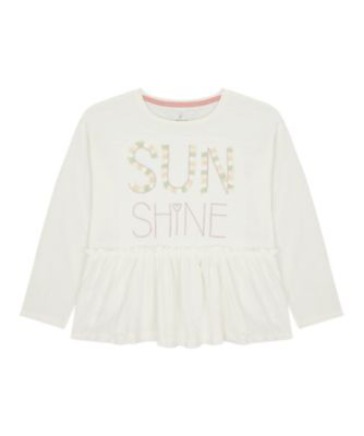 Mothercare Sienna Skies White Sunshine Peplum Short Sleeve T-Shirt