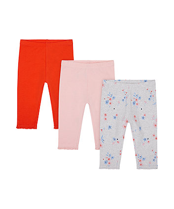 Mothercare Red, Pink And Floral Cropped Leggings - 3 Pack