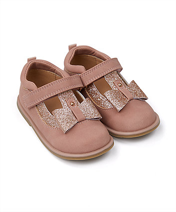 Mothercare First Walker Pink And Gold Bow Shoes