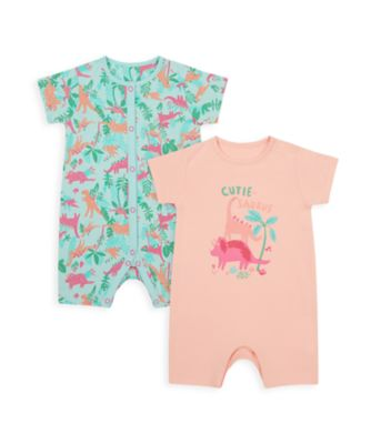 Mothercare Girls Floral Dino Rompers - 2 Pack