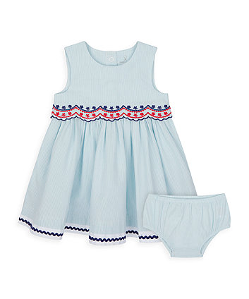 Mothercare Striped Seersucker Dress And Knickers Set