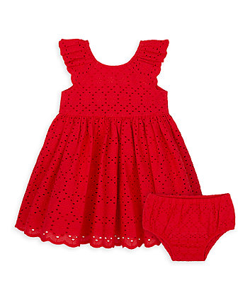 Mothercare Red Broderie Dress And Knickers Set