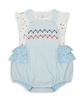 Mothercare Blue Striped Bibshorts And Bodysuit Set