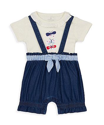 Mothercare Denim Bow Bibshorts And Bodysuit Set