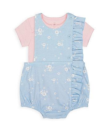 Mothercare Blue Floral Bibshorts And Bodysuit Set