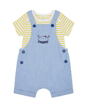 Mothercare Striped Crab Bibshorts And Bodysuit Set