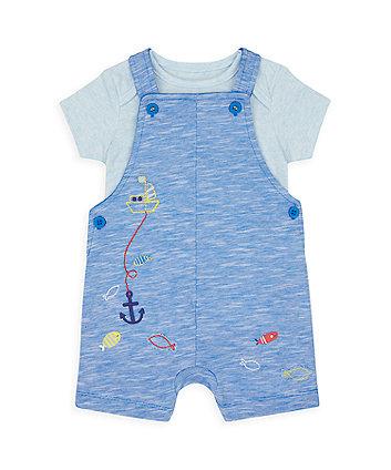 Mothercare Fun Fishing Bibshorts And Bodysuit Set