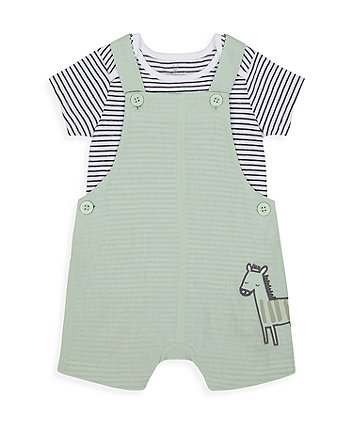 Mothercare Little Zebra Bibshorts And Bodysuit Set