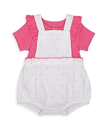 Mothercare Pink Spot Bibshorts And Bodysuit Set