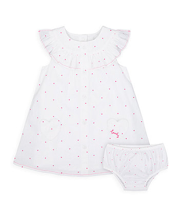 Mothercare Pink Spot Dress And Knickers Set