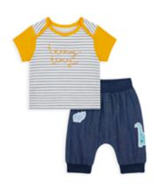 Mothercare Dino And Friends Top And Denim Joggers Set