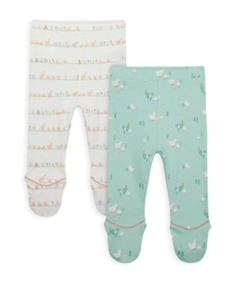 Mothercare NB Girls Little Duck Leggings With Feet Cover - 2 Pack