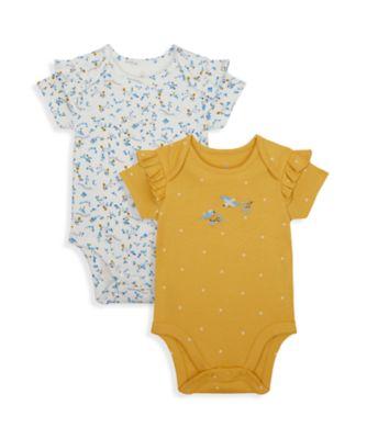 Mothercare NB Girls Bird Short Sleeve Bodysuits - 2 Pack