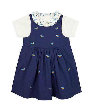 Mothercare Navy Bird Pinny Dress And Bodysuit Set