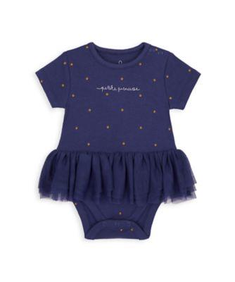 Mothercare NB Girls Bird Navy Tutu Short Sleeve Bodysuit