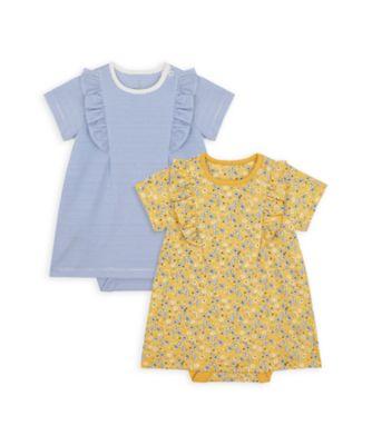 Mothercare NB Girls Bird Short Sleeve Romper Dresses - 2 Pack