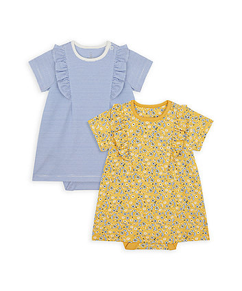 Mothercare Floral And Striped Romper Dresses - 2 Pack