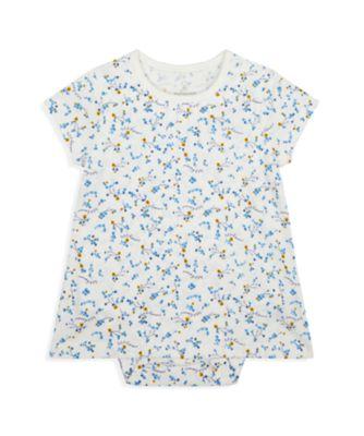 Mothercare NB Girls Bird Jersey Allover Print Short Sleeve Romper Dress