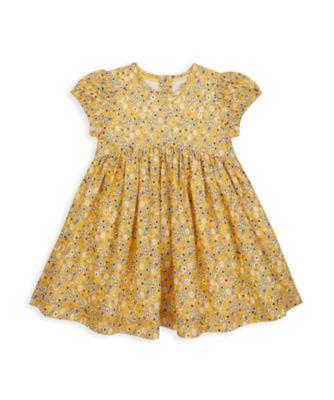Mothercare NB Girls Bird Woven Yellow Short Sleeve Floral Dress