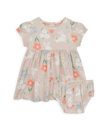 Mothercare NB Girls Little Duck Bunny Allover Print Short Sleeve Woven Dress