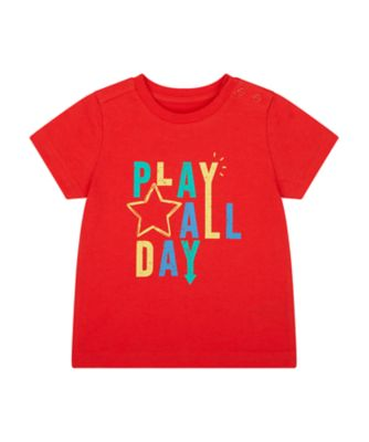 Mothercare We Are The Robots Red Play All Day Uber Short Sleeve T-Shirt