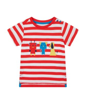 Mothercare We Are The Robots Red Stripe Character Short Sleeve T-Shirt