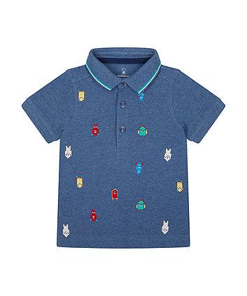 Mothercare Denim Marl Robot Polo Shirt