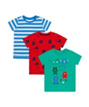 Mothercare Robot And Stripe T-Shirts - 3 Pack