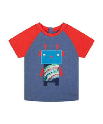 Mothercare We Are The Robots Denim Marl Raglan Short Sleeve T-Shirt