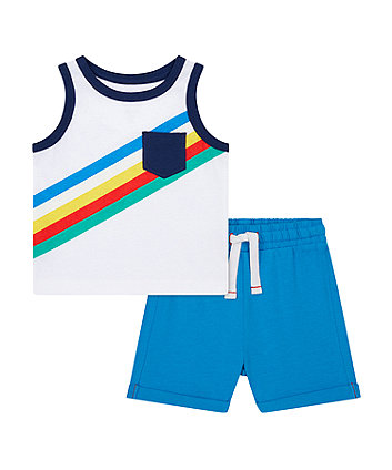 Mothercare Striped Vest T-Shirt And Shorts Set