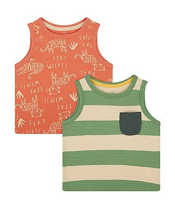 Mothercare Green Stripe And Safari Print Vest T-Shirts - 2 Pack