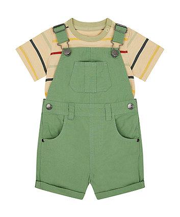 Mothercare Green Bibshorts And T-Shirt Set