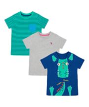 Mothercare Crocodile, Lizard And Stripe T-Shirts - 3 Pack