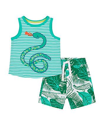 Mothercare Snake Vest T-Shirt And Shorts Set