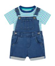 Mothercare Deinim Bibshorts And Striped T-Shirt Set