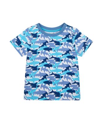 Mothercare Surf And Turf White Shark Aop Short Sleeve T-Shirt