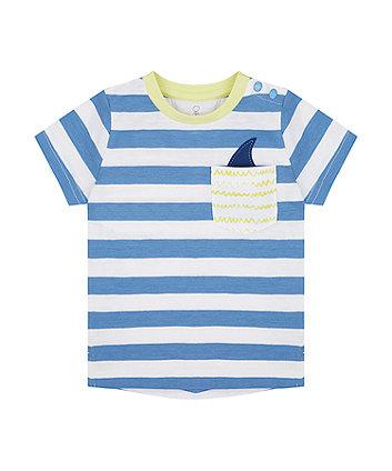 Mothercare Striped Shark Pocket T-Shirt