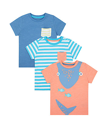 Mothercare Whale, Stripe And Blue T-Shirts - 3 Pack