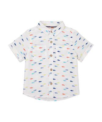 Mothercare Surf And Turf White Shark Allover Print Short Sleeve T-Shirt