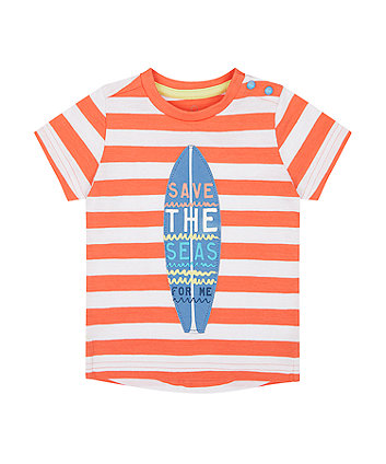 Mothercare Striped Save The Seas Surfboard T-Shirt