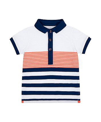 Mothercare White Multi-Stripe Polo Shirt