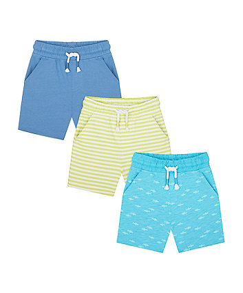 Mothercare Shark, Blue And Striped Shorts - 3 Pack