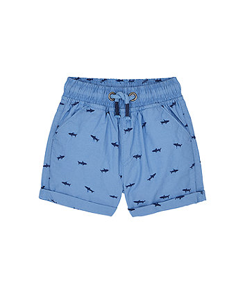 Mothercare Blue Shark Embroidered Poplin Shorts