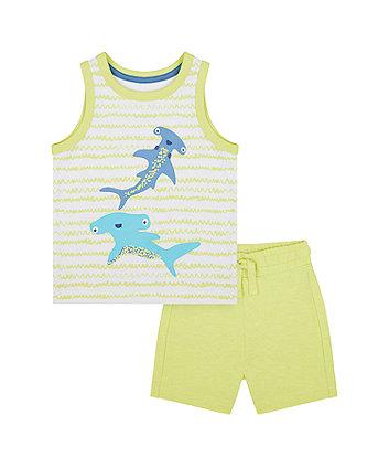 Mothercare Shark Vest T-Shirt And Shorts Set