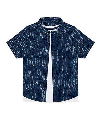 Mothercare Navy Shirt And T-Shirt Set