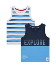 Mothercare Blue Stripe And Explore Vest T-Shirts - 2 Pack