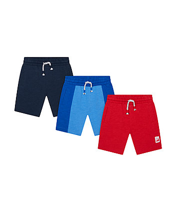 Mothercare Blue, Grey And Red Shorts - 3 Pack