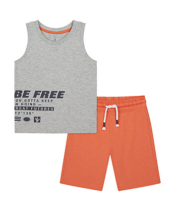 Mothercare Be Free Vest T-Shirt And Shorts Set