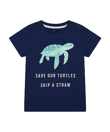 Mothercare Navy Save Our Turtles T-Shirt